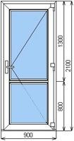 Размер двери 2100 мм х 900 мм стекло/стекло