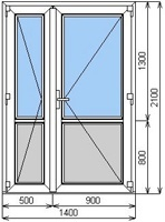 Размер двери 2100 мм х 1400 мм стекло/сендвич
